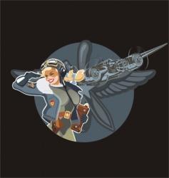 Military pin-up vector