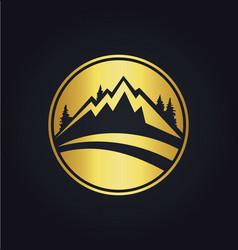 mountain icon round gold logo vector image vector image