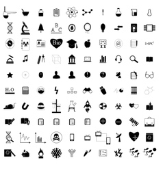 100 black education icons set vector image