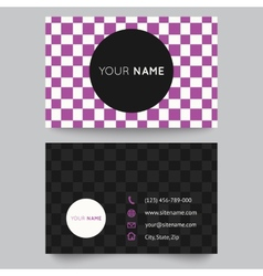 Business card template purple and white pattern vector image