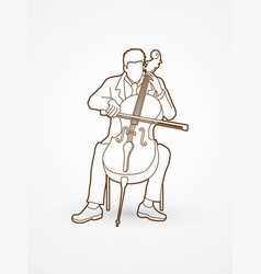 cellist player a man play cello classic music vector image vector image