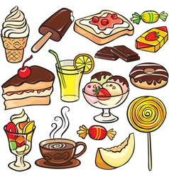Desserts sweets drinks icon set vector image vector image