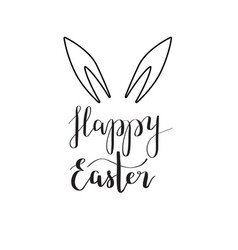 happy easter rabbit ear calligraphy vector image
