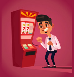 Man character play in slot machine vector
