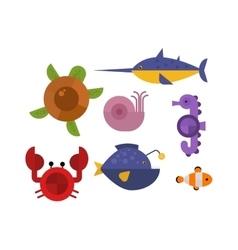Sea animals set vector image