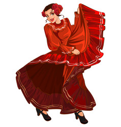 spanish woman in red dress dancing vector image