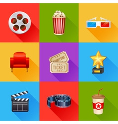 A detailed set of realistic cinema icons vector image vector image
