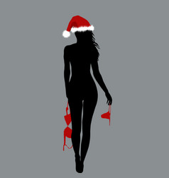 naked santa woman silhouette holding her lingerie vector image