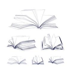 Open book sketch set vector image