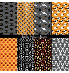 seamless halloween patterns vector image