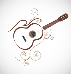 Stylized guitar logo vector image vector image