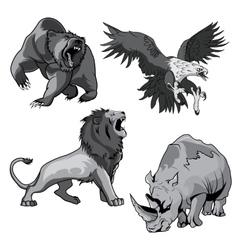Zoo rhino hawk grizzly bear and savannah lion vector image vector image