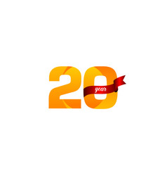 20 years anniversary celebration yellow with red vector