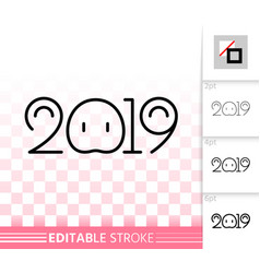 2019 simple new years eve black line icon vector image