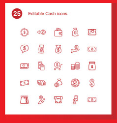25 cash icons vector image