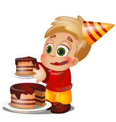 a little happy animated boy eating a piece cake vector image