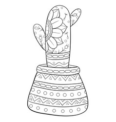 Adult coloring bookpage a cute cactus vector