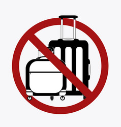 ban on luggage silhouette suitcases in the vector image