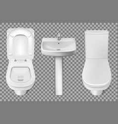 Bathroom interior toilet and washbasin realistic vector