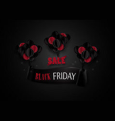 black friday sale red and black balloons hanging vector image
