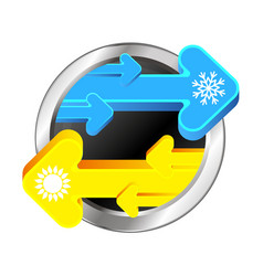 blue and yellow arrows for air conditioning vector image