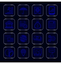 blue glowing business icons vector image