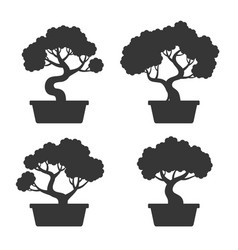 Bonsai tree silhouette set vector