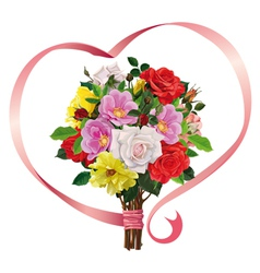 bouquet of roses with a pink ribbon vector image