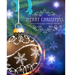 Brown Christmas ball with fir branches and tinsel vector image