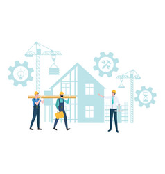 Building construction in process gears and workers vector