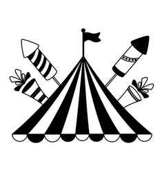 carnival tent flag rockets vector image