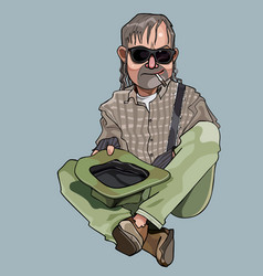 cartoon homeless man sitting with hat in hand and vector image