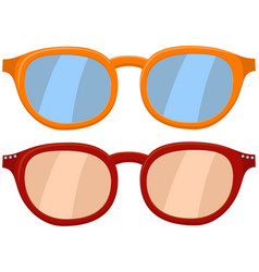 Cartoon icon poster glasses spectacles red orange vector