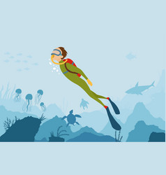 cartoon style underwater background with vector image