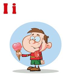 Child with ice cream cartoon vector