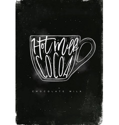 Chocolate milk cup chalk vector