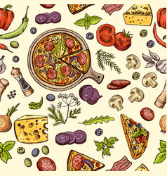 classical italian food pizza and slices with vector image
