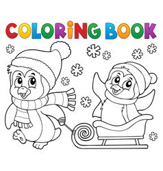 Coloring book christmas penguin topic 8 vector