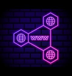 connectd globe neon icon elements navigation vector image