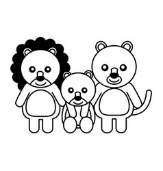 cute family lions animals cartoon vector image