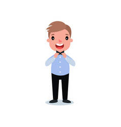 cute little boy standing and straightening his tie vector image