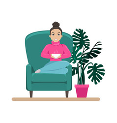 cute woman in armchair with a cup coffee vector image