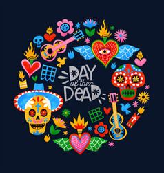 day dead mexican sugar skull icon card vector image