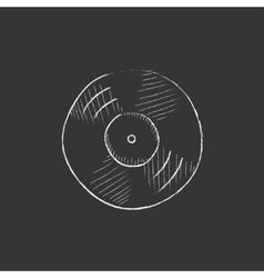 Disc Drawn in chalk icon vector image