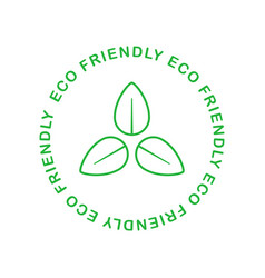 Eco friendly green symmetrical tree leaf badge vector