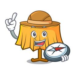 Explorer table cloth mascot cartoon vector