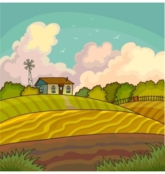 Farm rural landscape with field vector