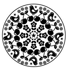 Finnish inspired round folk art pattern - black de vector