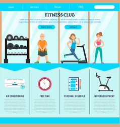 Flat fitness club web page template vector