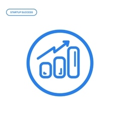 Flat line chart icon vector